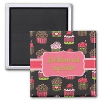 Pink and Lime Green Cupcakes on Brown 2 Inch Square Magnet