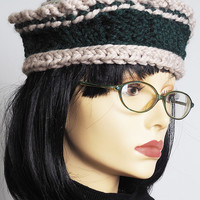 hunter green knit beret / green and beige crochet tam / womans winter hat / teen girl hat / wool blend / one of a kind / fall fashion