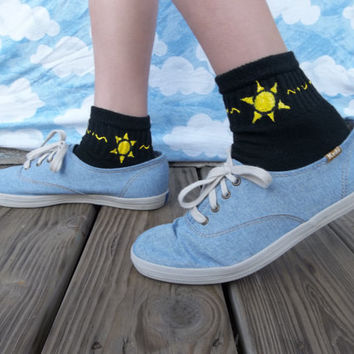 Hand Painted Black Socks for Bigger Feet: Geometric Sun & Trim - kid large/xl - women's xs/small