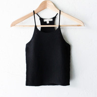 Knit Crop Top - Black