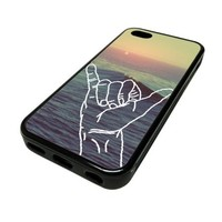 Apple Iphone 5 or 5s Case Cover Hang Loose Hawaii Beach Quote Hipster Design Black Rubber Silicone Teen Gift Vintage Hipster Fashion Design Art Print Cell Phone Accessories