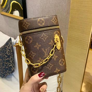 Louis Vuitton LV Stitching Color Crossbody Bag Ladies Chain Handbag Cylindrical Bag Cosmetic Bag