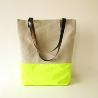 Large Tote bag, Canvas, Neon Fabric, Leather Handles