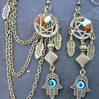 hamsa hand evil eye dreamcatcher chained ear cuff SET turquoise and amber in boho gypsy hippie hipster Moroccan  and tribal fusionl style