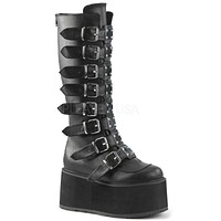 Demonia Matte Black Buckled Knee High Platform Boots