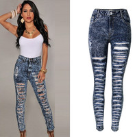 Deep Blue High Waist Frayed Jeans