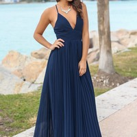Navy Pleated Maxi Dress with Criss Cross Back