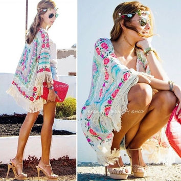 New Women Boho Fringe Floral Kimono Cardigan Tassels Beach Cover Up Cape Jacket = 5709659777