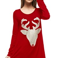 Sleigh Ride Red Gold Glitter Red Nose Reindeer Head Long Sleeve Scoop Neck Tunic Top Mini Dress