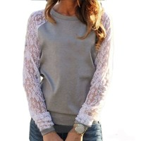 2017 Spring Women Casual Hoodies Sweatshirts Fashion Lace Patchwork Long Sleeve Sweatshirt O Neck Pullover Tops Sudaderas Mujer