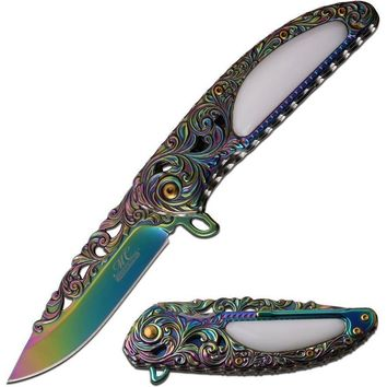 Majestic Swirl Knife- Rainbow