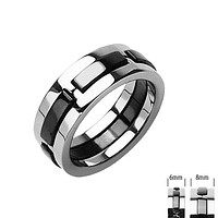 Tango - FINAL SALE Raised Carbon Strips Solid Titanium with Onyx Colored Band