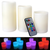 Evelots Flameless Color Changing LED Candle Lights W/ Remote Control, Set Of 3