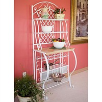 White Metal Bakers Rack with 5-Bottle Wine Rack & Wooden Work Shelf