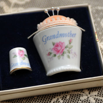 """Napco Porcelain Pin Cushion and Thimble 1950s """"Grandmother"""" Vintage Sewing Notions Special Gift Original Pins"""