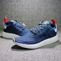 Best Online Sale Adidas NMD R2 Primeknit Blue BB2952  Boost Sport Running Shoes Classic Casual Shoes Sneakers