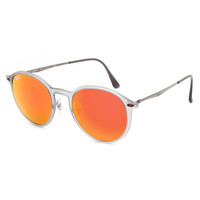 Ray-Ban Rb4224 Round Mirrored Sunglasses Gray One Size For Men 26422211501