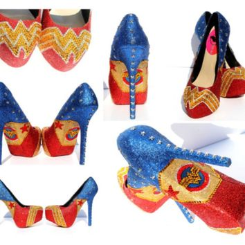 Wonder Woman Shoes in glitter and crystals