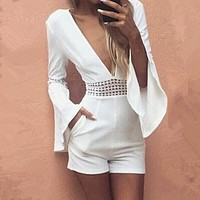 White Short Sexy Rompers Jumpsuit