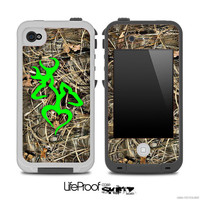 Real Camouflage V3 with Lime Green Heart Deer Logo Skin for the iPhone 4/4s or 5 LifeProof Case