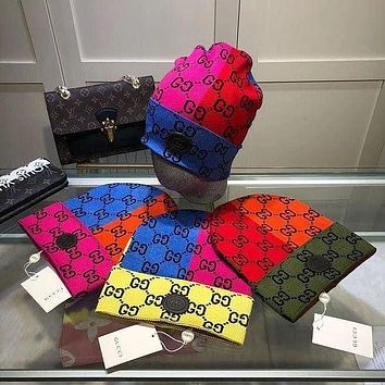 DIOR GG double g letter color block beanie hat