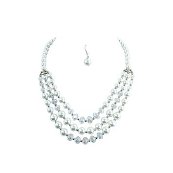 White faux Pearl and Crystal Beads Multi-layered Necklace