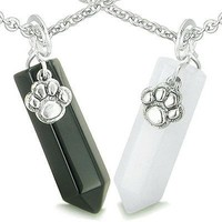 Positive Energy Love Couple or Best Friends Wolf Paw Amulet Crystal Points White