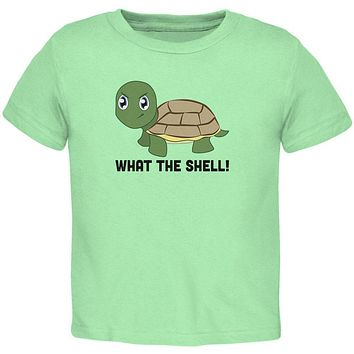 Turtle What The Shell Funny Pun Cute Toddler T Shirt