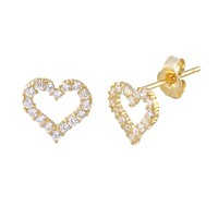 14k Yellow Gold CZ Heart Stud Earrings 7mm