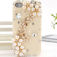 1PC Bling Crystal Pearl Floral Plastic iPhone 4,4g,4s,5,5c,5s Case Cover Skin Cell Phone Accessary