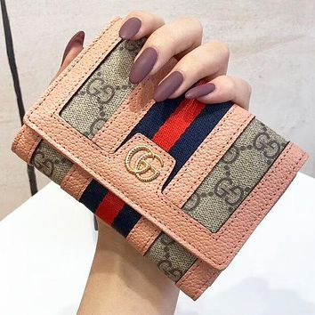 GUCCI  New fashion stripe more letter leather wallet purse handbag Pink