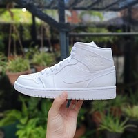 Air Jordan 1 Mid Triple White sneakers basketball shoes