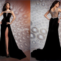 New Fashion Cap Sleeves Black Evening Dresses With High Slit Nude Back Prom Party Gowns Custom Made Alternative Measures - Brides & Bridesmaids - Wedding, Bridal, Prom, Formal Gown