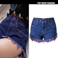 Sexy Women Girl Summer High Waist Ripped Hole Wash Denim Jeans Shorts Pants = 4721833540
