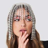 Silver Luxury Rhinestone Forehead Headpiece Tassel Chain for Women Handmade Hat Crystal Headbands Wedding Hair Accessories