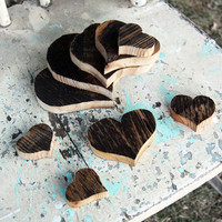 Barnwood Hearts: Coasters, Centerpieces, Candle Holders, Country Wedding Decor.  9 Pieces