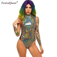 Festival Queen Gray Holographic Bodysuit - Party Music Festival Rave