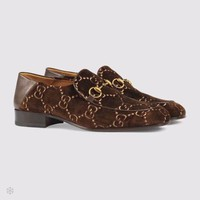 GUCCI 2018 autumn and winter new men's suede double G fashion embossed pattern shoes