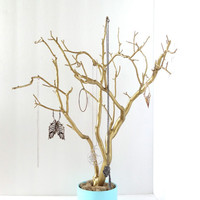 """Jewelry Holder Organizer Tree Gold Robin's Egg Blue Aqua 21"""" painted tabletop tree necklace hanger bedroom decor for her"""
