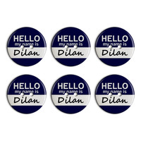 Dilan Hello My Name Is Plastic Resin Button Set of 6