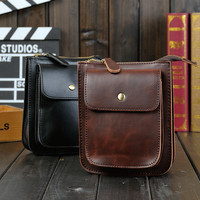 Vintage Mens Leather Crossbody Shoulder Bag