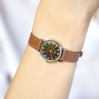 Floral plated women's watch round, black silver lady wrist watch Ray, boho girl watch small, vintage lady's watch, genuine leather strap new