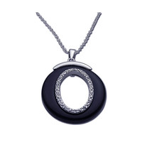 .925 Sterling Silver Open Round  Black Onyx Necklace