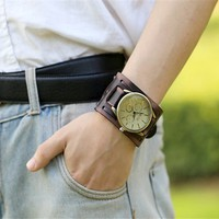 Style Retro Punk Rock Black Brown Big Wide Leather Bracelet Cuff Men Watch Cool Wristwatches Vintage Leather Watches For Lovers Couples
