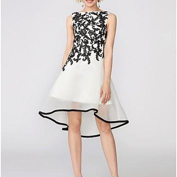 A-Line Boat Neck Asymmetrical Spandex / Corded Lace High Low Cocktail Party Dress with Appliques by TS Couture®