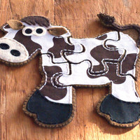 Fabric Cow Jigsaw Puzzle with Drawstring Bag Unique Childrens Toy Personalised Girls or Boys Toys Baby Shower Gifts