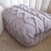 Diamonds and cable hand knitted wool throw/afghan/blanket