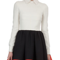 Valentino Colorblock Crepe Full-Skirt Shirtwaist dress