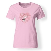 Love Hearts and  Boston Terrier T-shirt Ladies Cut Short Sleeve ExtraLarge BB4462-978-XL