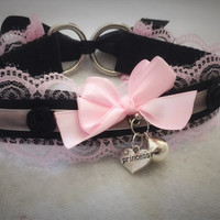Pink & Black Princess Bell Kitten Play Rose BDSM Sub Collar